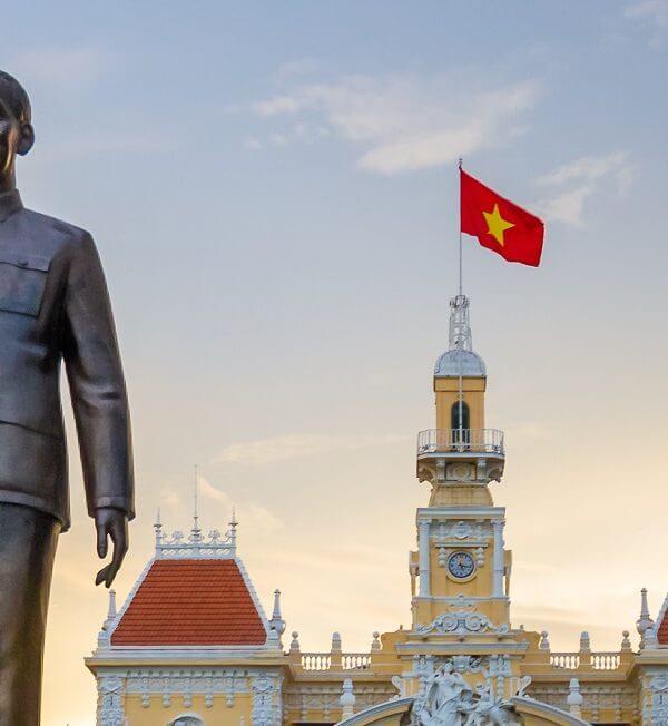 Ho Chi Minh Statue Flag